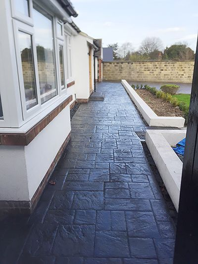 Decorative Pattern Imprinted Concrete Patio Specialists for Huddersfield, West Yorkshire.